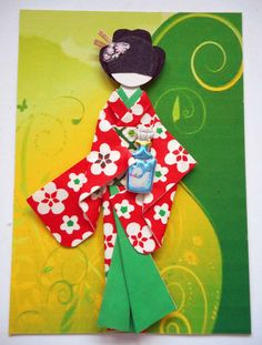 ATC1286 - Geisha and Perfume | ATC with hand-made Japanese origami paper doll.