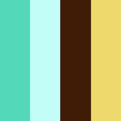 Aquamarine, pale turquoise and deep brown. I like these colors to use in my living room with my brown couch
