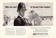 1959 British Overseas Airways Airlines BOAC English Bobby PRINT AD