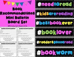 Mini bulletin board set for classroom book recommendations classroom library bulletin boards hashtag classroom decor book recommendations book trackers reading bulletin boards