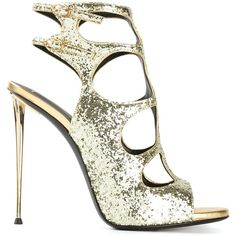 Giuseppe Zanotti Design glitter sandals ($670) ❤ liked on Polyvore featuring shoes, sandals, heels, metallic, leather shoes, ankle strap shoes, metallic leather sandals, stiletto heel sandals and glitter shoes