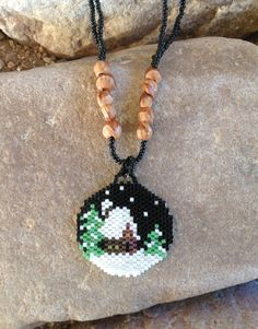 Winter Cabin Beaded Necklace