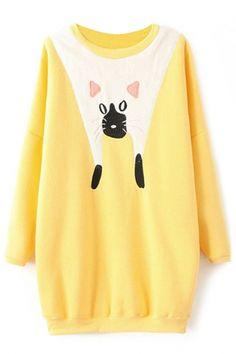 Sweet Graphic Cat Long #Sweatshirt - OASAP.com  Free Shipping + $15 Off Coupon!