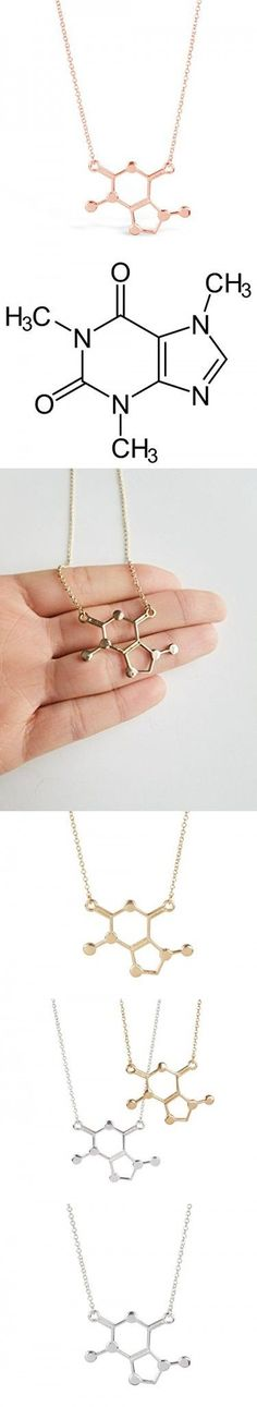 Caffeine Molecule Necklace for Coffee Lovers and Enthusiasts, Unique Nerdy Scientific DNA Pendant Necklaces, Chemical Molecules for Science Lovers, Caffeine Humor, Coffee Gifts (Rose Gold Tone)