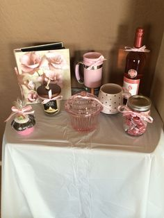 Baby shower prizes!  We looked for all pink themed prize gifts for our baby girl shower.