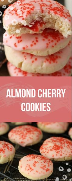 Almond Cherry Cookies Recipe ~ Soft, Delicious Almond Cookies Glazed in Cherry Frosting with a Surprise Cherry in the Middle! Cherry Cookies, Xmas Cookies, Yummy Cookies, Quick Cookies, Almond Cookies, Cake Cookies, Köstliche Desserts, Delicious Desserts, Dessert Recipes
