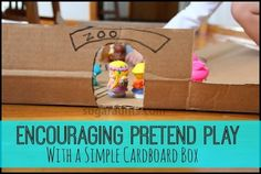 Zoo play mat with a cardboard box: Encouraging pretend play with DIY small world. Learning Through Play, Fun Learning, Preschool At Home, Zoo Preschool, Small World Play, Dramatic Play, Creative Play, Childhood Education, Pretend Play