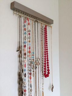 Jewelry Organizer diy jewelry holder, crafts, how to, organizing, repurposing upcycling - A necklace holder was needed to keep jewelry out of the hands of little ones while also providing a decor element to the bedroom. This super easy DIY cost less… Necklace Hanger, Necklace Storage, Jewellery Storage, Jewellery Display, Jewellery Shops, Diy Necklace Display, Diy Jewellery, Jewellery Stand, Wood Necklace
