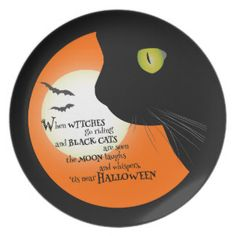Black Cat & Witches 'Tis Halloween Treat Plate