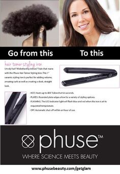 """Phuse™ Hair Tamer Styling Iron. This 1"""" ceramic styling iron is perfect for adding volume, amazing curls as well as creating a sleek straight look. The result is fabulous looking hair that is virtually damaged free.  Ceramic plates that produce ultra far infrared heat that penetrates the hair shaft. Again, what? That means the Ceramic plates will preserve your hair's natural moisture while producing an even heat which means less styling time and more time to look hot."""