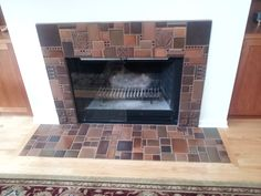 Motawi Brown collage fireplace #motawi