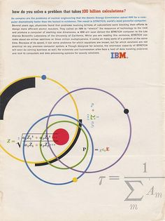 IBM Ad Agency: Benton Bowles Designed by Matthew Leibowitz See more IBM Ads here Vintage Graphic Design, Graphic Design Typography, Branding Design, International Typographic Style, Brain Art, Computer Basics, Nuclear Engineering, Vintage Typography, Packaging