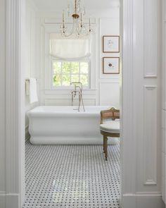 "Betsy Anderson Interiors on Instagram: ""Bathroom Design #BAinteriors . . . . . . . . . . #bathroom #bathroomideas #bathroominspo #masterbath #tubinspiration #freestandingtub…"""