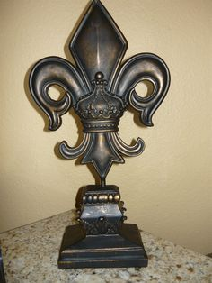 Fleur de Lis Finial. Hand made and hand finished antique gold. Old World, Tuscan, French Country, Medieval Home Decor