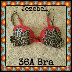 SALE! Bra 36A Animal Print Like New Was $9 now $7. Don't miss it... Cat print with red lace trim on lightly padded, underwire cups, straps and edges.  Size 36A, Jezebel brand. Worn only a couple of times. Jezebel Intimates & Sleepwear Bras