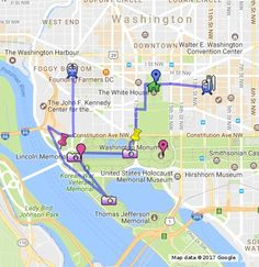 Washington DC is one of the most beautiful cities in the United States with lots of rich history and amazing sites. You can spend a whole day walking around the city and visiting the different monuments and museums. This map will give a possible walking map for those who are interested in seeing the famous monuments of the city.