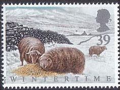 The Four Seasons. Wintertime 39p Stamp (1992) Welsh Mountain Sheep in Snowdonia