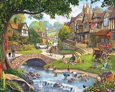 Completed.      Summer Village Jigsaw Puzzle