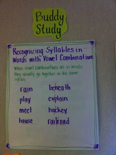 Buddy Study - recognize syllables in words with vowel combinations