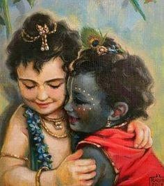 Krishna and Balarama hugging with affection Radha Krishna Holi, Krishna Lila, Cute Krishna, Jai Shree Krishna, Krishna Radha, Yashoda Krishna, Radha Rani, Lord Krishna Images, Radha Krishna Pictures