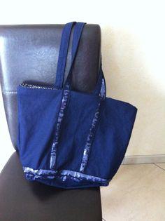 Mon sac à paillettes façon Vanessa Bruno avec à l'intérieur du tissu japonais
