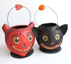 Vintage Styled Paper Mache Glitter Halloween by MoonLitVintage, $22.00