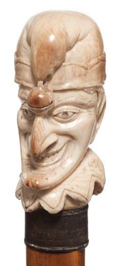 19th century Mr. Punch (Cane head) - Dunway Enterprises - tinyurl.com/zyyfjo7