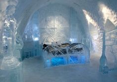 Bed of ice, Icehotel in Swedish Lapland. Ice hotel, ice hotell