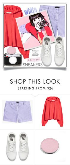 """""""So Fresh: White Sneakers"""" by ewa-naukowicz-wojcik ❤ liked on Polyvore featuring J.Crew, Vans, Chantecaille and whitesneakers"""