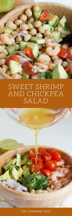 Sweet Shrimp and Chickpea Salad - The ultimate summer salad: Shrimp and Chickpea Salad. Easy to do and the perfect healthy lunch to take it to the office. 10 minutes! | The Cookware Geek