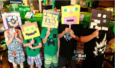 Clever Minecraft party activity: DIY masks using squares of construction paper or Post-It notes