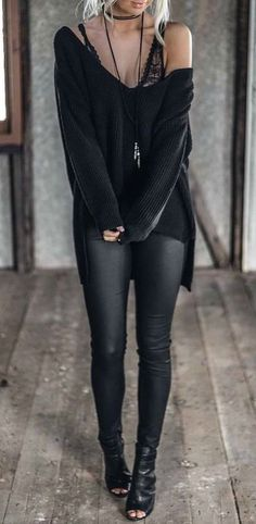 Knit Long Sleeve Deep V Loose Sweater