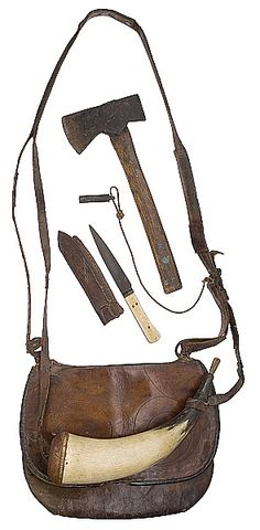 Early leather hunting pouch, powder horn, knife and hatchet. google.com