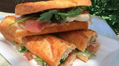 Perfect Picnic Recipe: Prosciutto and fresh mozzarella baguette Baguette Sandwich, Prosciutto Recipes, Cooking Tips, Cooking Recipes, Healthy Recipes, Sammy, Picnic Foods, Fresh Mozzarella