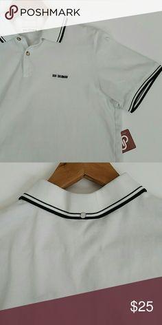 White Polo Shirt Crisp white Polo with black trim. No stain. Great condition. Ben Sherman Shirts Polos