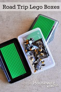 Glue some extra building board to the top of pencil boxes to make it easy to bring Legos on the road. | 40 Smart Tricks To Keep Your Kids Organized