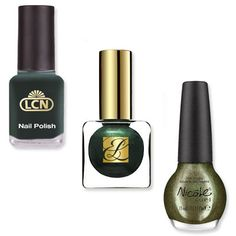 """Fall Trend - Hunter Green   Dark emerald shades like Estée Lauder's Viper ($20; esteelauder.com), LCN's New York Beat ($7.50; lcnusa.com starting in September), and Nicole by OPI's For Gold Times Sake ($7; target.com) put a literal meaning to the term """"green thumb."""""""