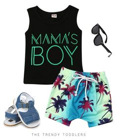 Your baby boy will look super stylish in this summer outfit, complete with statement tank top, tropical shorts, stylish sandals and sunglasses. Cute Baby Boy Outfits, Boys Summer Outfits, Toddler Boy Outfits, Baby Kids Clothes, Kids Outfits, Little Boy Clothing, Girl Clothing, Toddler Boys, Toddler Boy Fashion