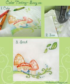 Color tinting embroidery projects. Easy!