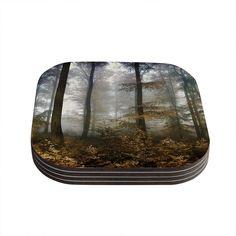 Kess InHouse Iris Lehnhardt 'Forest Mystics' Gray Coasters
