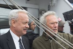 Tom Hanks and Clint Eastwood on the set of <em>Sully</em>