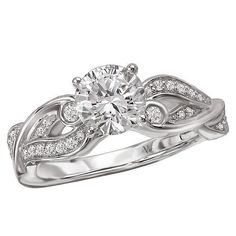NEW 14k WHITE GOLD SEMI-MOUNT DIAMOND ROUND CUT WAVE DESIGN ENGAGEMENT RING 1ct. #SolitairewithAccents