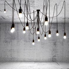 SELETTI MAMAN Lampadario 14 luci a LED appendibili filo nero: Amazon.fr: Luminaires et Eclairage