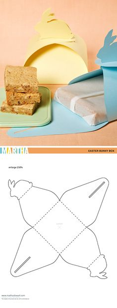 "Bunny boxes (with video tutorial & free box template). Needs 18x18"" paper for gifting brownies"