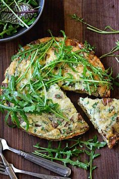 Easy Dinner: Potato Bacon Frittata with Dijon Arugula Salad