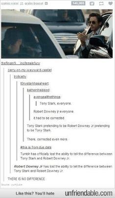 Robert Downey Jr strikes again<— Ahem. Tony Stark as Robert Downy Jr.<--- You mean Robert Downey Jr as Tony Stark pretending to be Robert Downey Jr Marvel Dc, Marvel Actors, Marvel Comics, Marvel Jokes, Marvel Funny, Avengers Memes, Marvel Universe, Fandoms, Stark Tower
