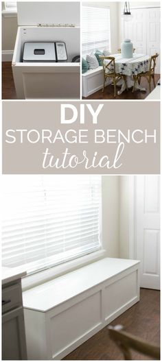 to Build a Window Seat with Storage - DIY Tutorial DIY Storage Bench Tutorial- How great to have that added storage space for small appliances!DIY Storage Bench Tutorial- How great to have that added storage space for small appliances! Storage Bench Seating, Kitchen Storage Bench, Kitchen Benches, Diy Bench With Storage, Diy Bench Seat, Bedroom Storage Bench, Window Seat Storage Bench, Window Seats Diy, Window Seats Bedroom