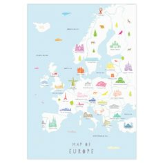 Map of Europe Art Print (Various Sizes) - Holly Francesca