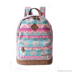 Wow~ AwesomeFashion Pink Snowflake Geometry Totem Rucksack Travel Backpack…