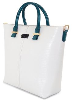 Paul's Boutique Spring / Summer 2015 | Natasha tote bag in White / Teal Snakeskin. www.paulsboutique.com x